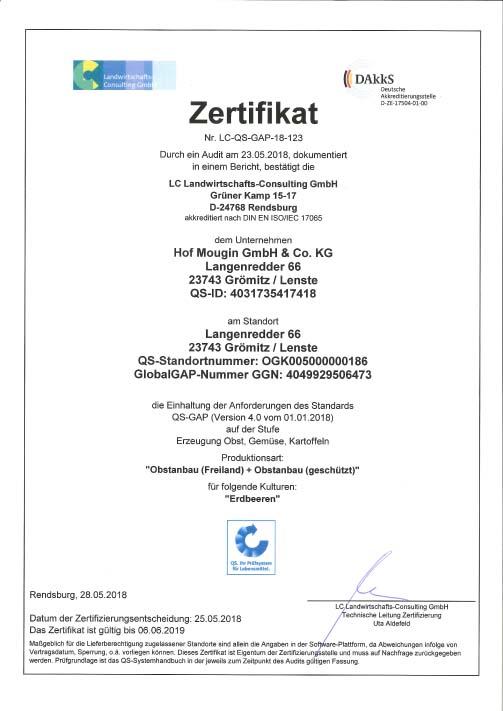 Zertifiziert nach QS-GAP - Das Prüfsystem für Lebensmittel